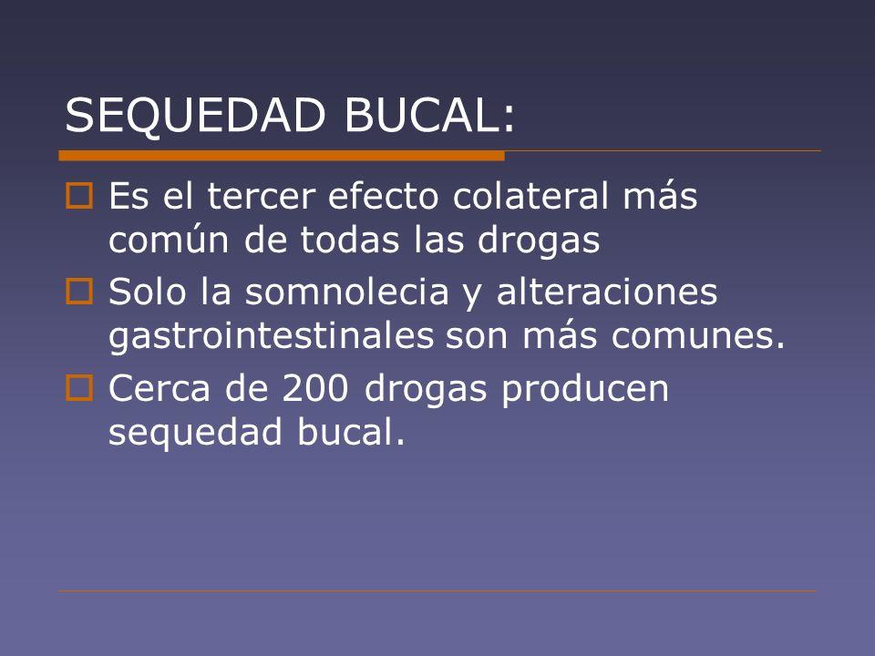 SEQUEDAD BUCAL: Es el tercer efecto colateral más común de todas las drogas. Solo la somnolecia y alteraciones gastrointestinales son más comunes.
