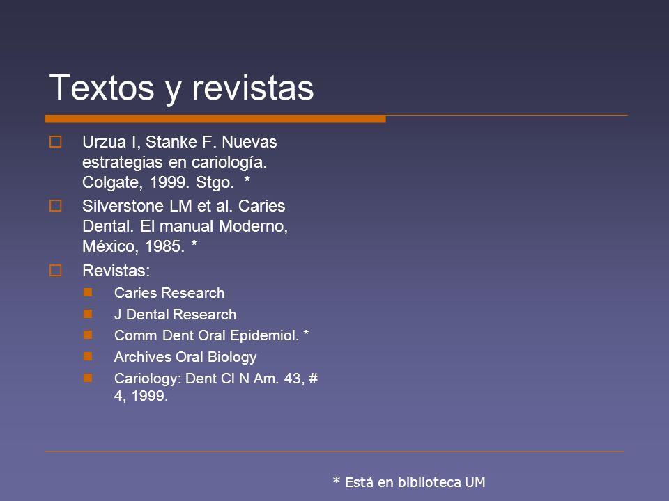 Textos y revistas Urzua I, Stanke F. Nuevas estrategias en cariología. Colgate, 1999. Stgo. *