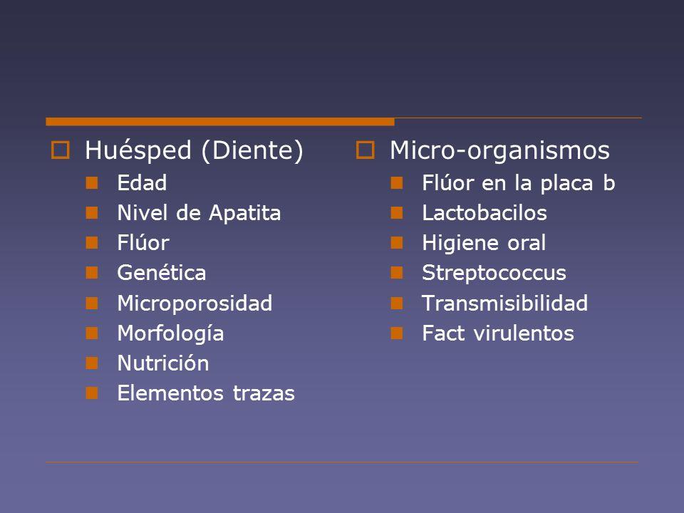 Huésped (Diente) Micro-organismos Edad Nivel de Apatita Flúor Genética