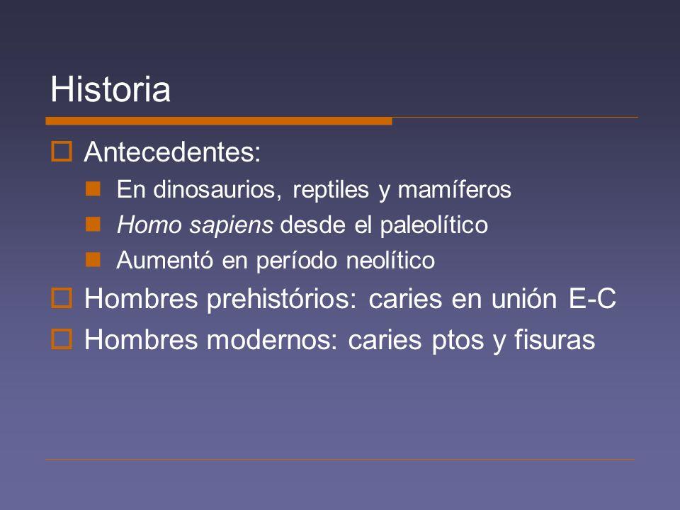 Historia Antecedentes: Hombres prehistórios: caries en unión E-C