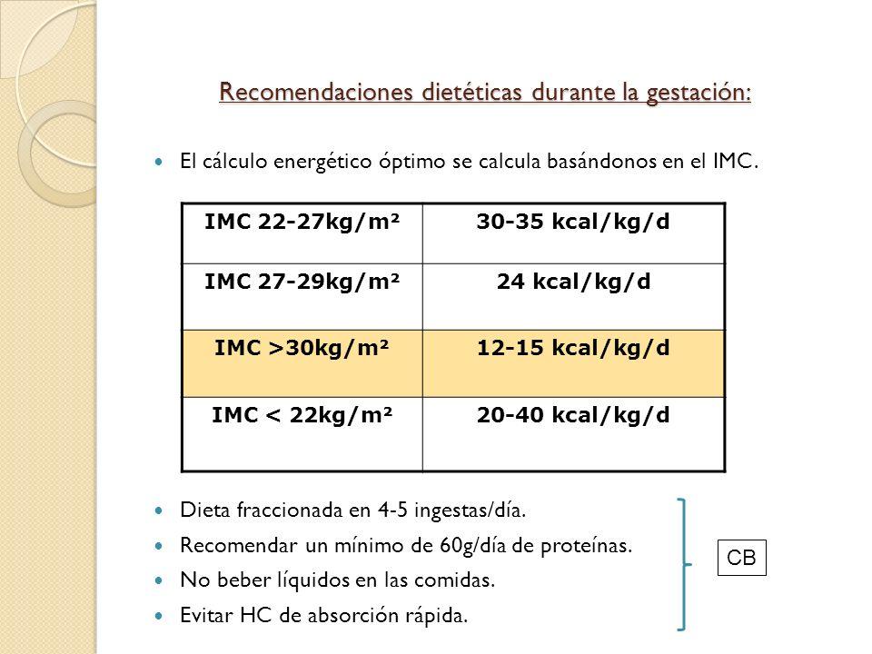 Recomendaciones dietéticas durante la gestación: