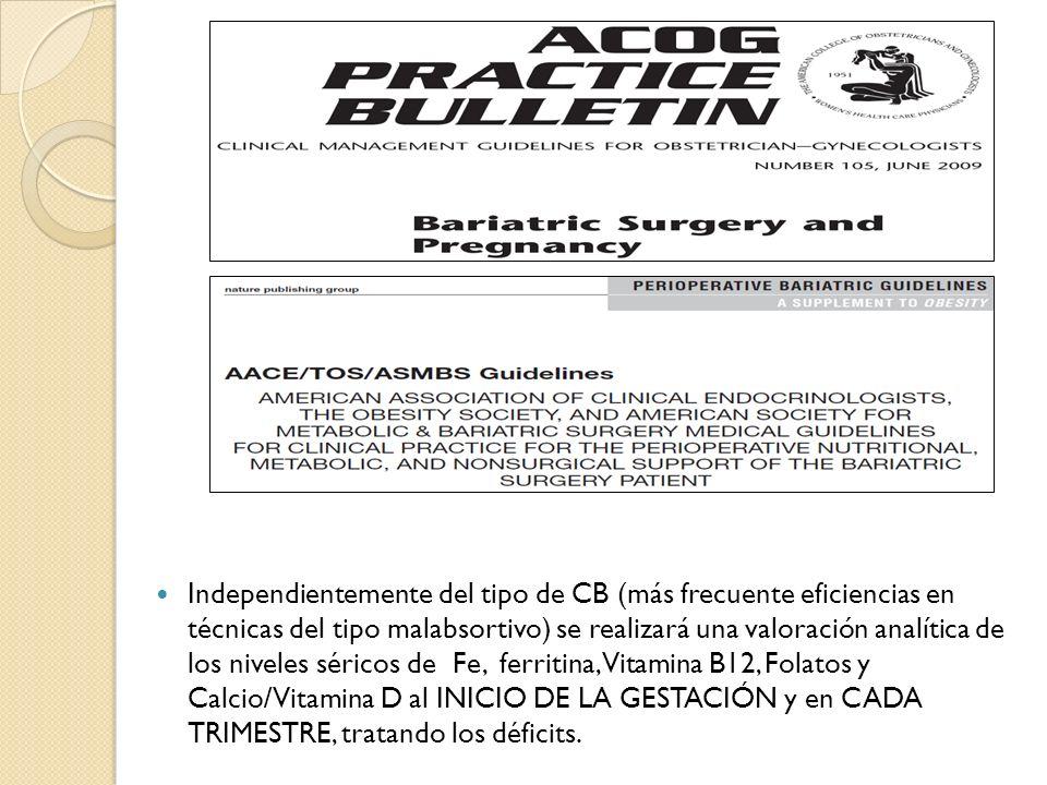 Independientemente del tipo de CB (más frecuente eficiencias en técnicas del tipo malabsortivo) se realizará una valoración analítica de los niveles séricos de Fe, ferritina,Vitamina B12, Folatos y Calcio/Vitamina D al INICIO DE LA GESTACIÓN y en CADA TRIMESTRE, tratando los déficits.