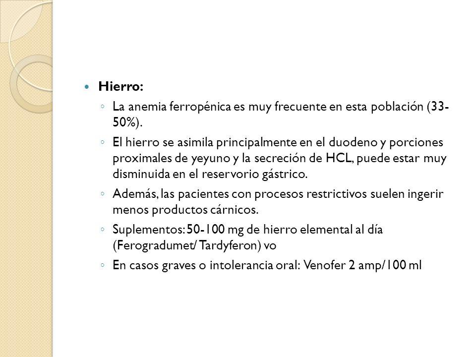 Hierro: La anemia ferropénica es muy frecuente en esta población (33- 50%).