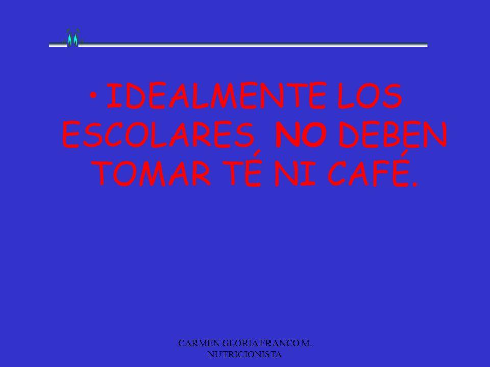 IDEALMENTE LOS ESCOLARES NO DEBEN TOMAR TÉ NI CAFÉ.