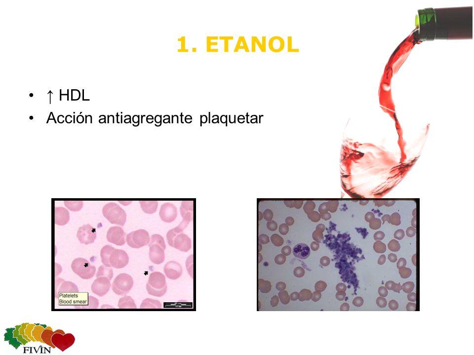 1. ETANOL ↑ HDL Acción antiagregante plaquetar