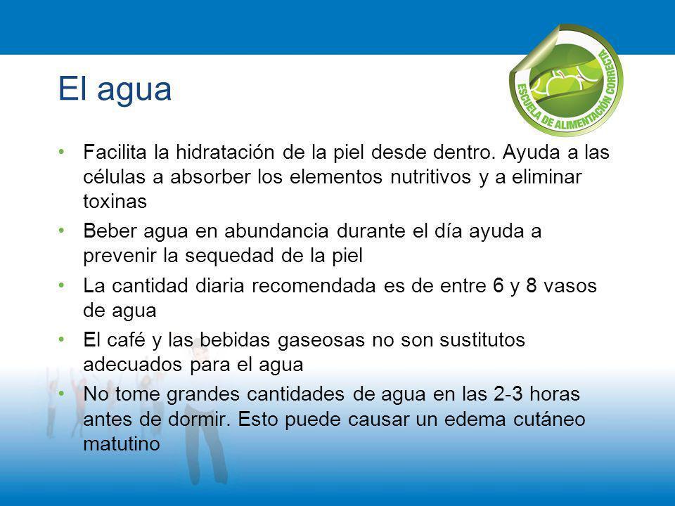 El agua Facilita la hidratación de la piel desde dentro. Ayuda a las células a absorber los elementos nutritivos y a eliminar toxinas.