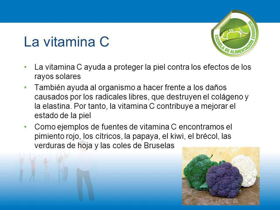 La vitamina C La vitamina C ayuda a proteger la piel contra los efectos de los rayos solares.