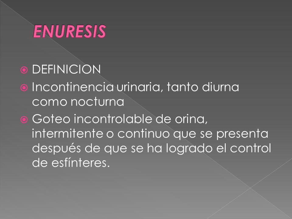 ENURESIS DEFINICION Incontinencia urinaria, tanto diurna como nocturna