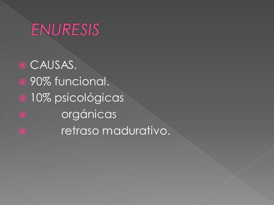 ENURESIS CAUSAS. 90% funcional. 10% psicológicas orgánicas