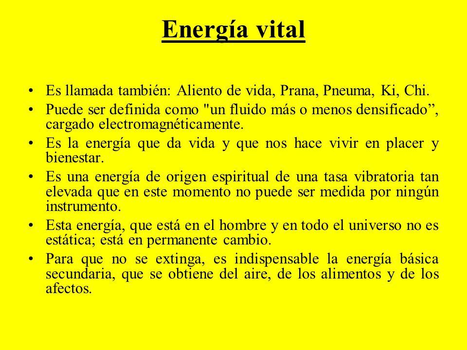 Energía vital Es llamada también: Aliento de vida, Prana, Pneuma, Ki, Chi.