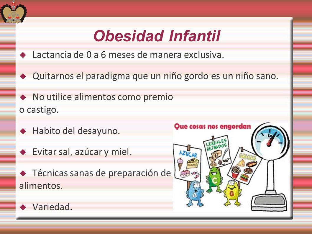 Obesidad Infantil Lactancia de 0 a 6 meses de manera exclusiva.