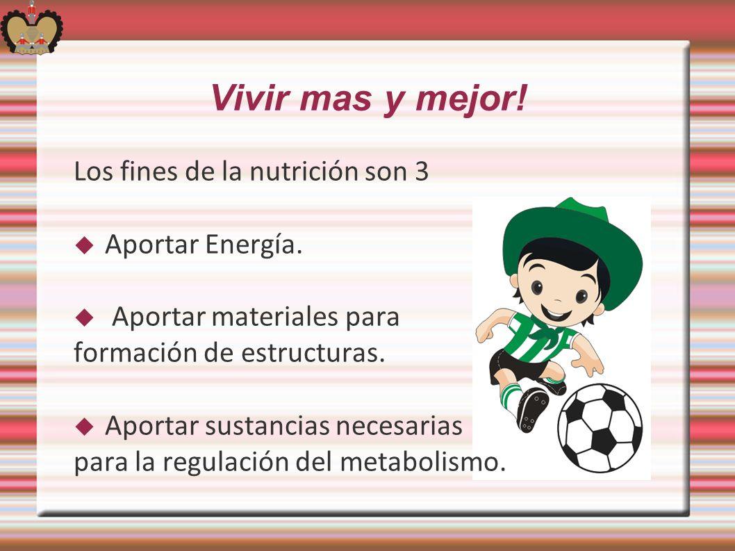 Vivir mas y mejor! Los fines de la nutrición son 3 Aportar Energía.