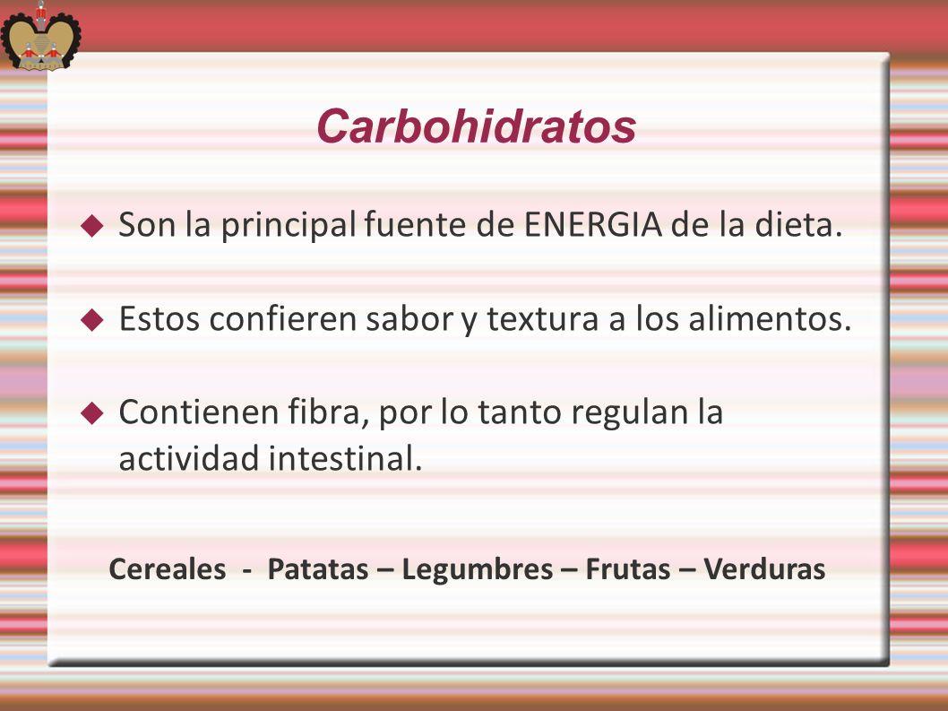 Cereales - Patatas – Legumbres – Frutas – Verduras