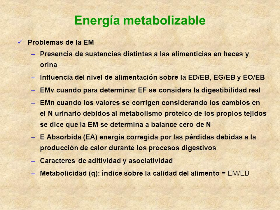Energía metabolizable