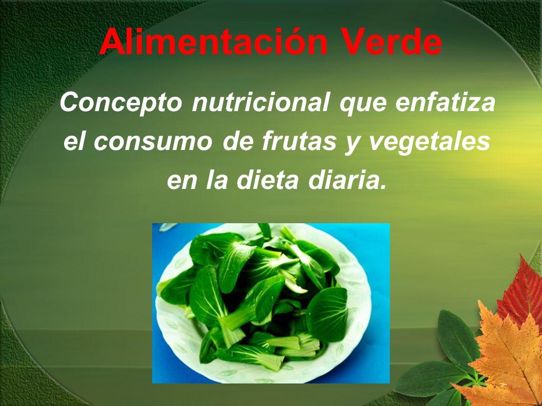 Concepto nutricional que enfatiza el consumo de frutas y vegetales
