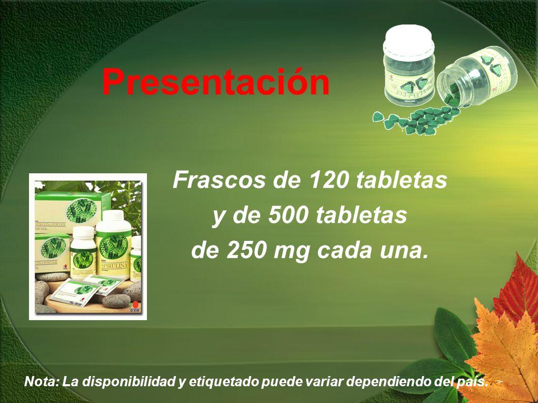 Frascos de 120 tabletas y de 500 tabletas de 250 mg cada una.