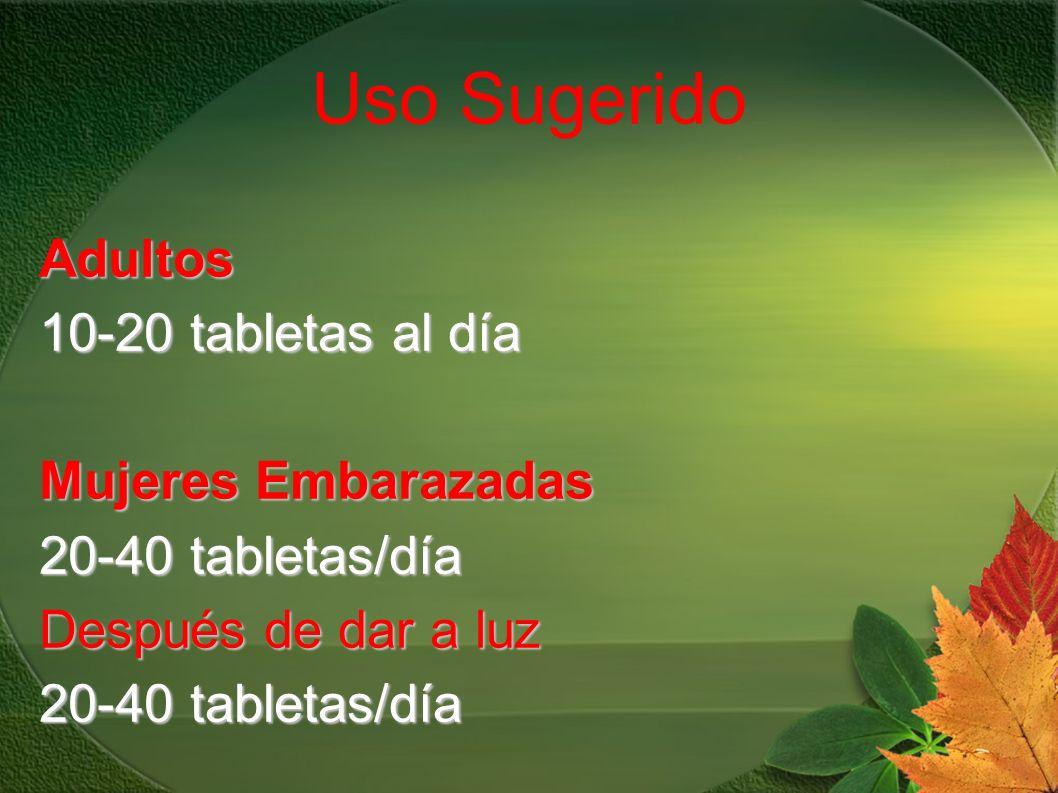 Uso Sugerido Adultos 10-20 tabletas al día Mujeres Embarazadas