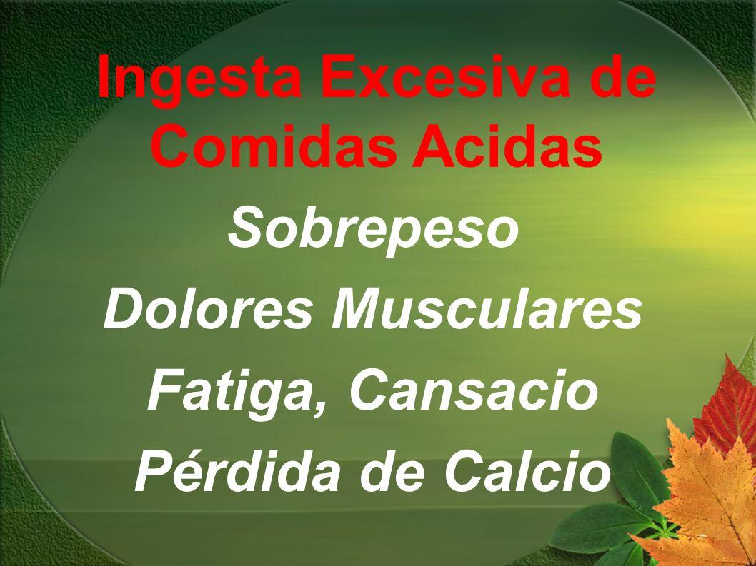 Sobrepeso Dolores Musculares Fatiga, Cansacio Pérdida de Calcio