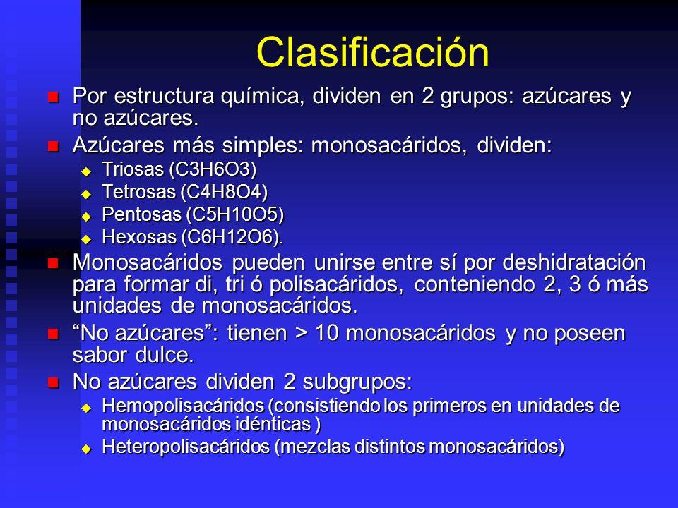 Clasificación Por estructura química, dividen en 2 grupos: azúcares y no azúcares. Azúcares más simples: monosacáridos, dividen:
