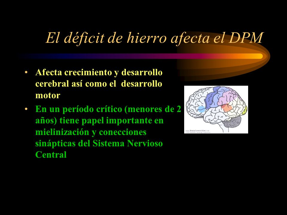 El déficit de hierro afecta el DPM