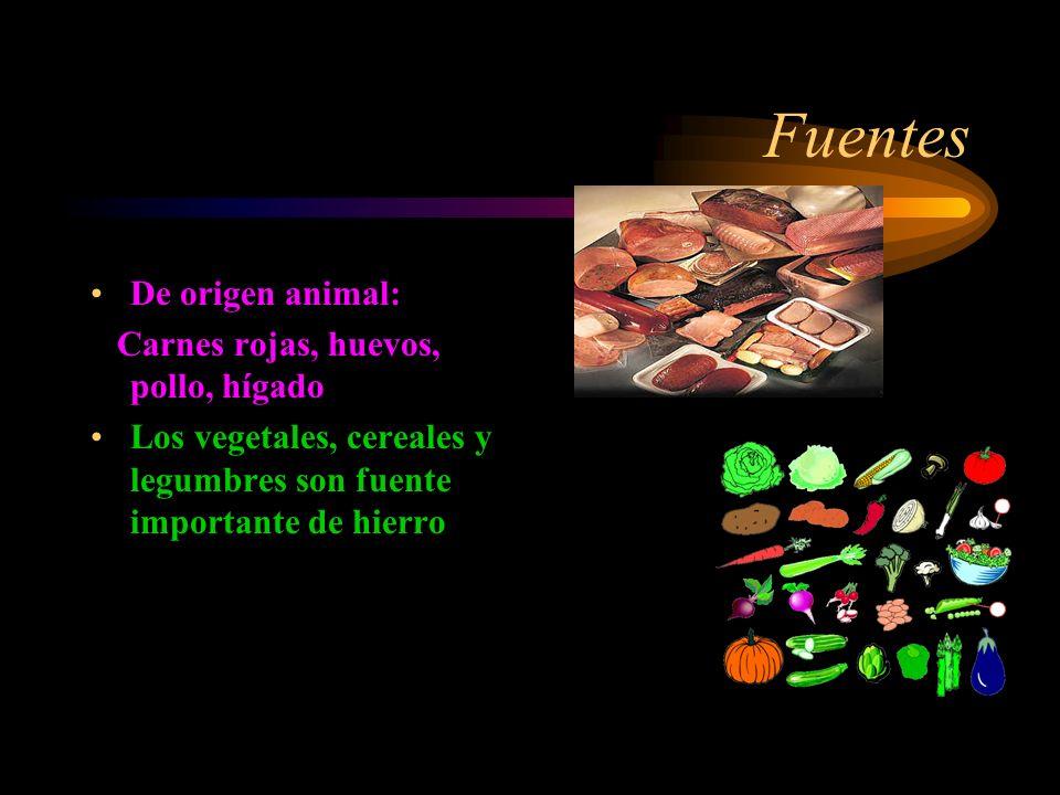 Fuentes De origen animal: Carnes rojas, huevos, pollo, hígado