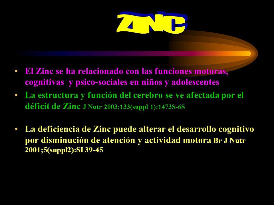 ZINC El Zinc se ha relacionado con las funciones motoras, cognitivas y psico-sociales en niños y adolescentes.
