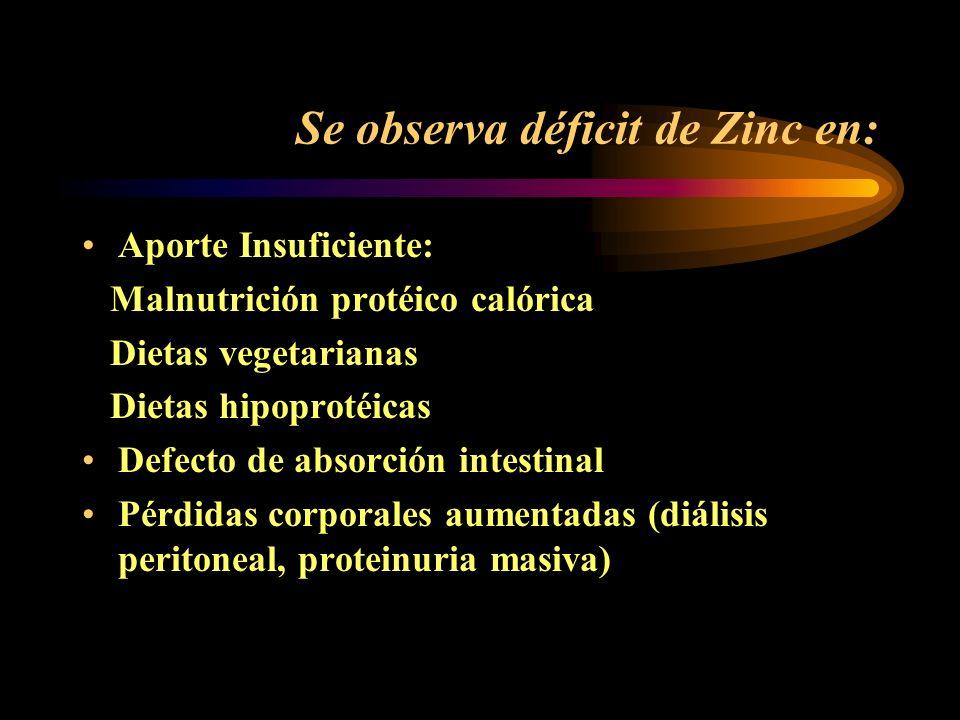 Se observa déficit de Zinc en: