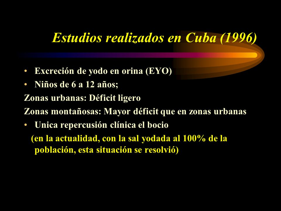 Estudios realizados en Cuba (1996)