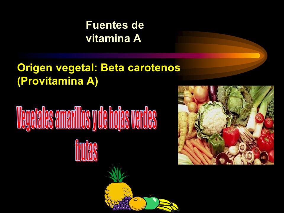 Vegetales amarillos y de hojas verdes
