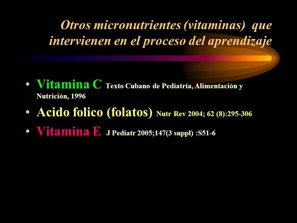 Otros micronutrientes (vitaminas) que intervienen en el proceso del aprendizaje
