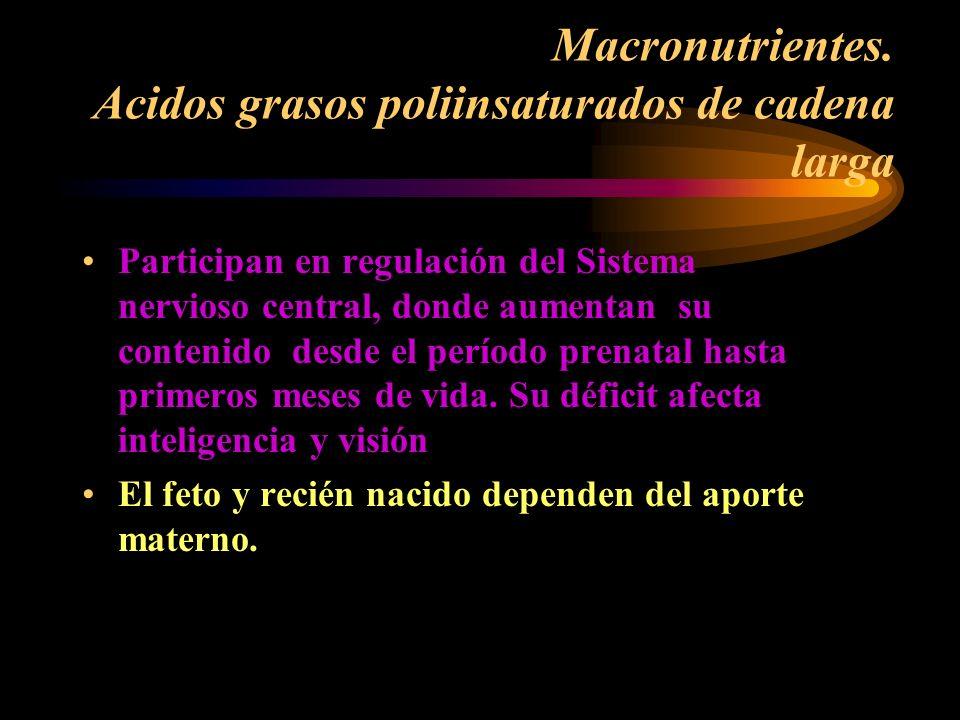 Macronutrientes. Acidos grasos poliinsaturados de cadena larga