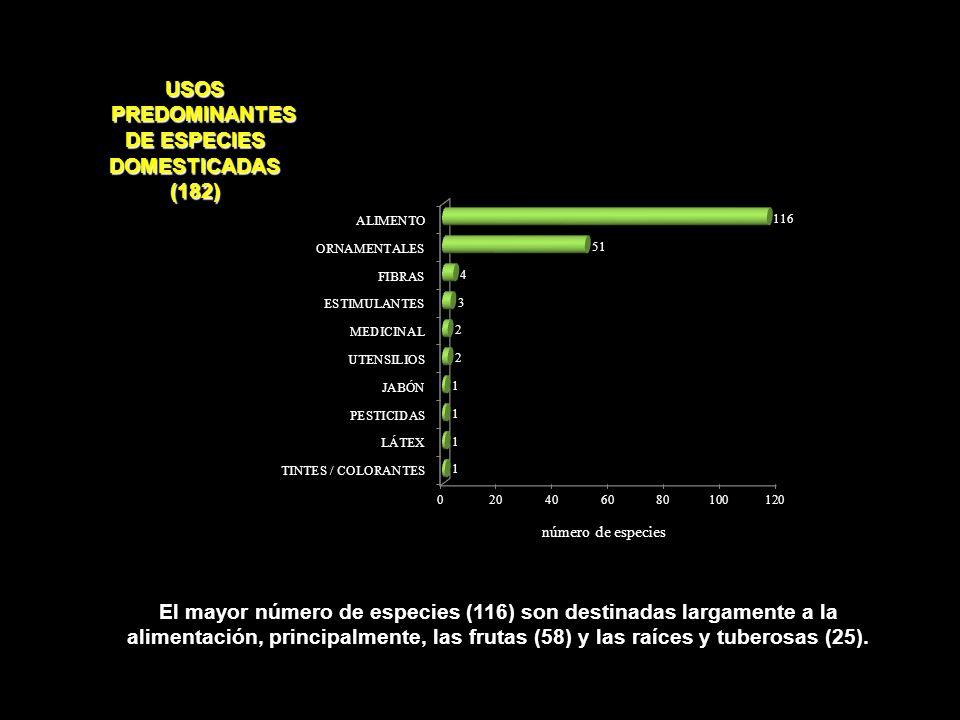 USOS PREDOMINANTES DE ESPECIES DOMESTICADAS (182)