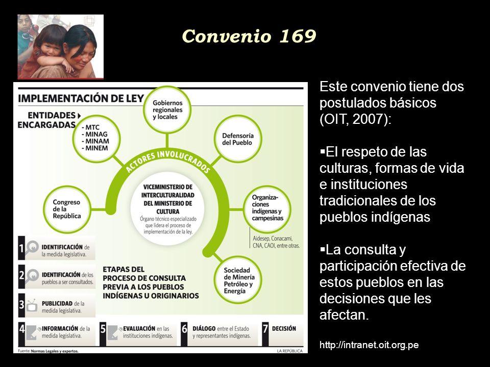 Convenio 169 Este convenio tiene dos postulados básicos (OIT, 2007):