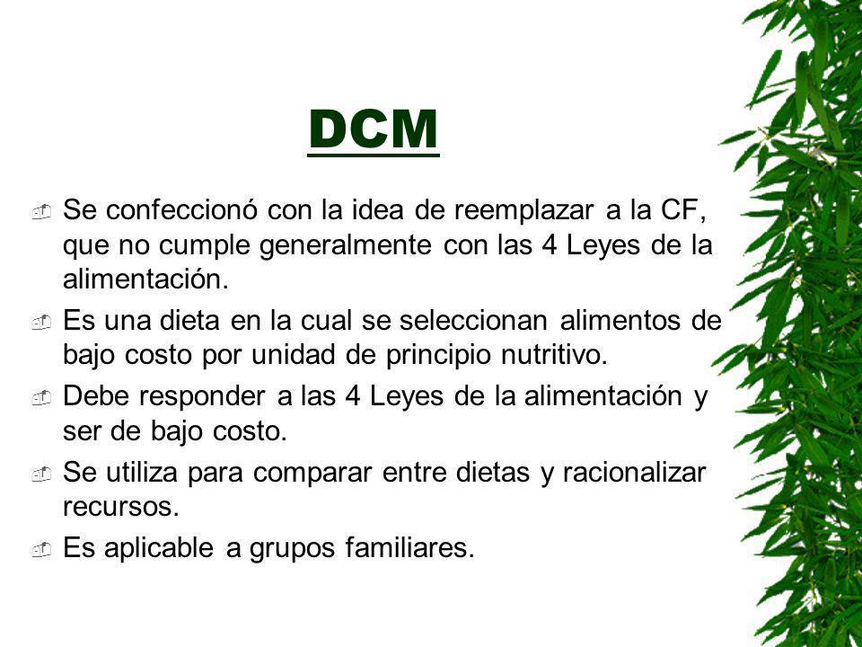 DCM Se confeccionó con la idea de reemplazar a la CF, que no cumple generalmente con las 4 Leyes de la alimentación.