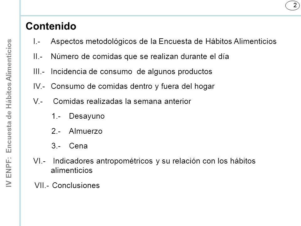 2 Contenido. I.- Aspectos metodológicos de la Encuesta de Hábitos Alimenticios. II.- Número de comidas que se realizan durante el día.