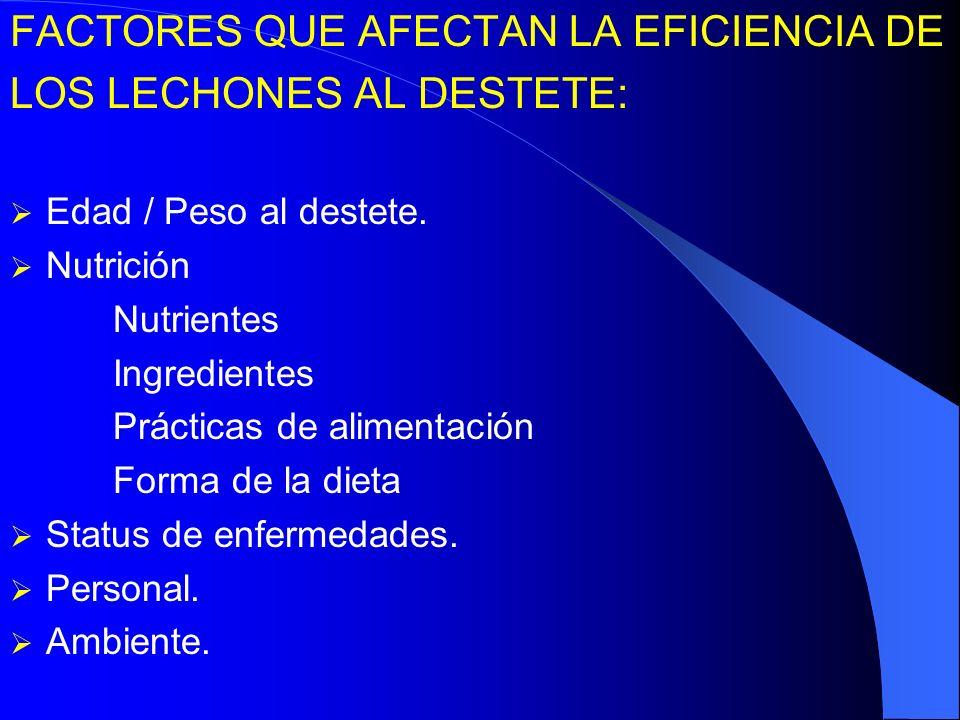 FACTORES QUE AFECTAN LA EFICIENCIA DE LOS LECHONES AL DESTETE: