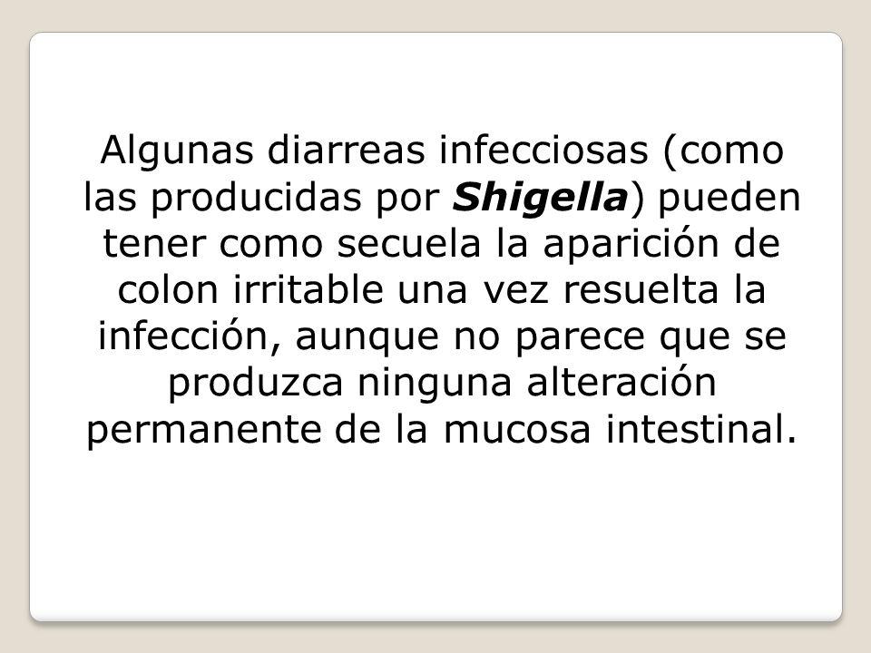 Algunas diarreas infecciosas (como las producidas por Shigella) pueden tener como secuela la aparición de colon irritable una vez resuelta la infección, aunque no parece que se produzca ninguna alteración permanente de la mucosa intestinal.