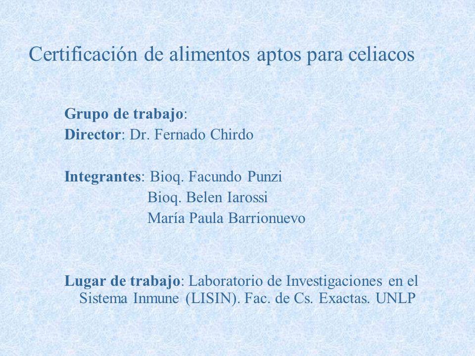 Certificación de alimentos aptos para celiacos