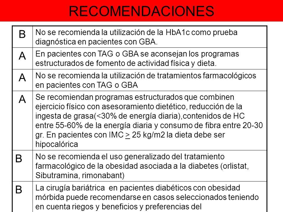 RECOMENDACIONES B. No se recomienda la utilización de la HbA1c como prueba diagnóstica en pacientes con GBA.