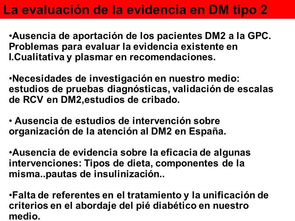 La evaluación de la evidencia en DM tipo 2