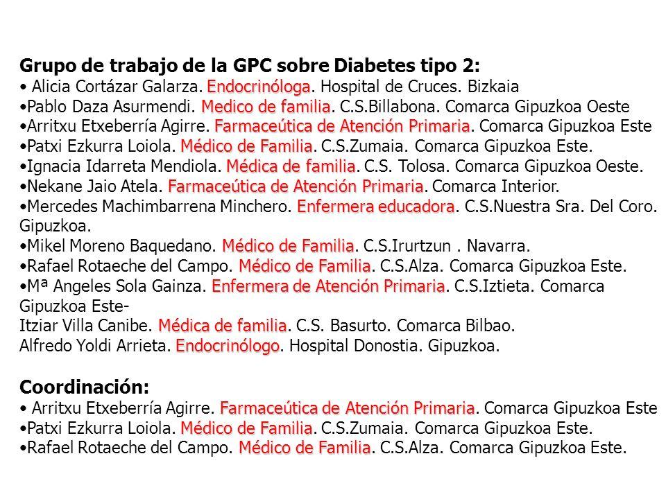 Grupo de trabajo de la GPC sobre Diabetes tipo 2: