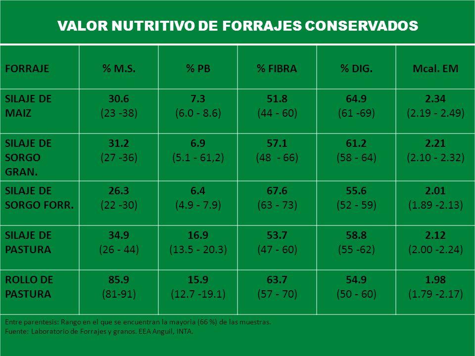 VALOR NUTRITIVO DE FORRAJES CONSERVADOS