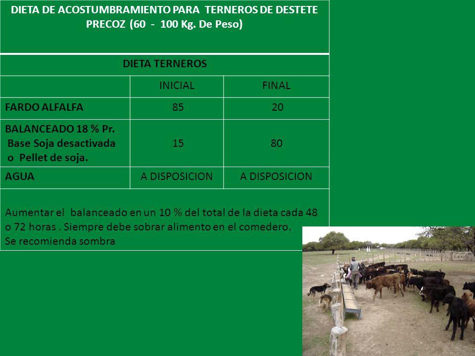 DIETA DE ACOSTUMBRAMIENTO PARA TERNEROS DE DESTETE PRECOZ (60 - 100 Kg