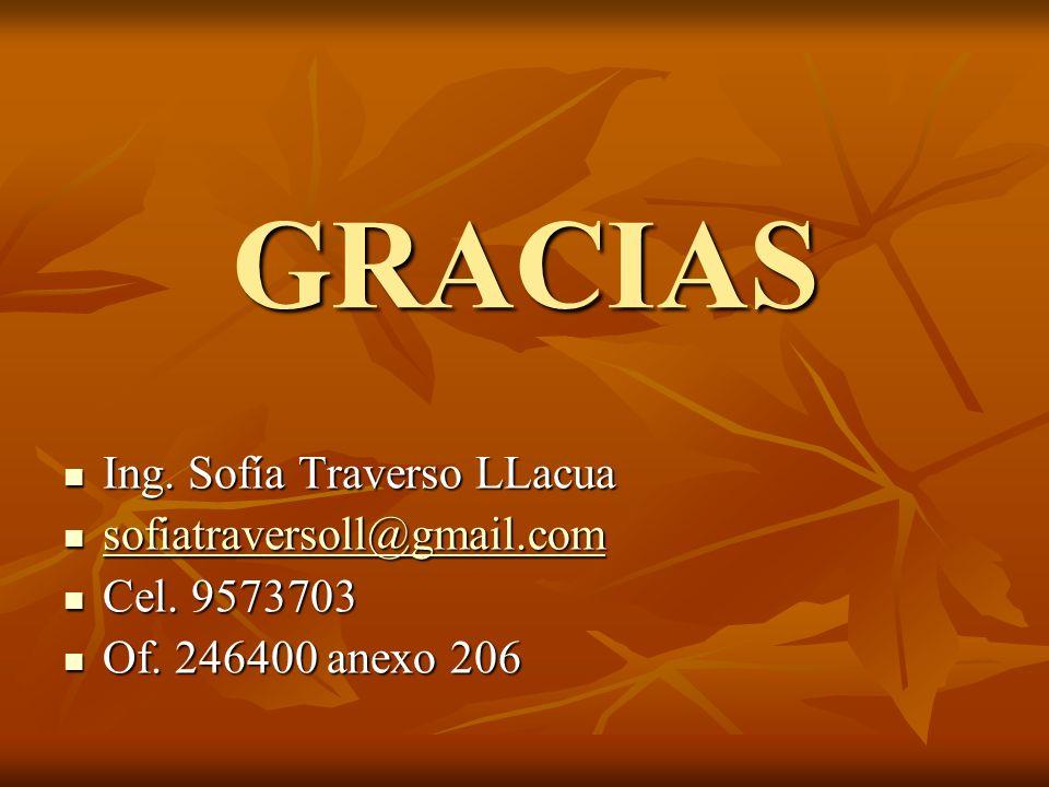 GRACIAS Ing. Sofía Traverso LLacua sofiatraversoll@gmail.com