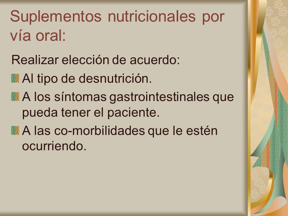 Suplementos nutricionales por vía oral:
