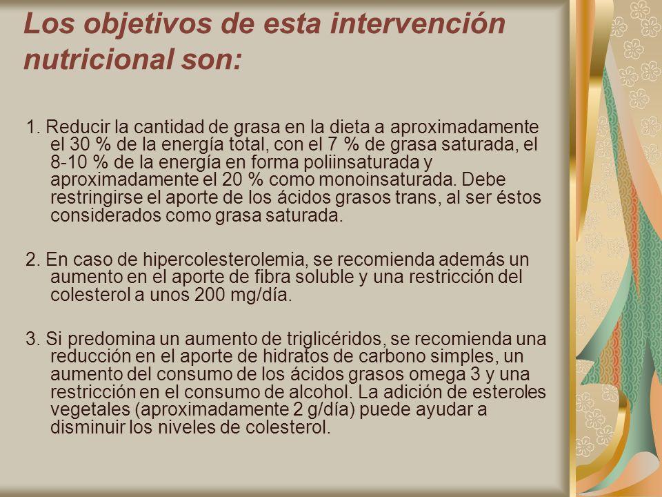 Los objetivos de esta intervención nutricional son: