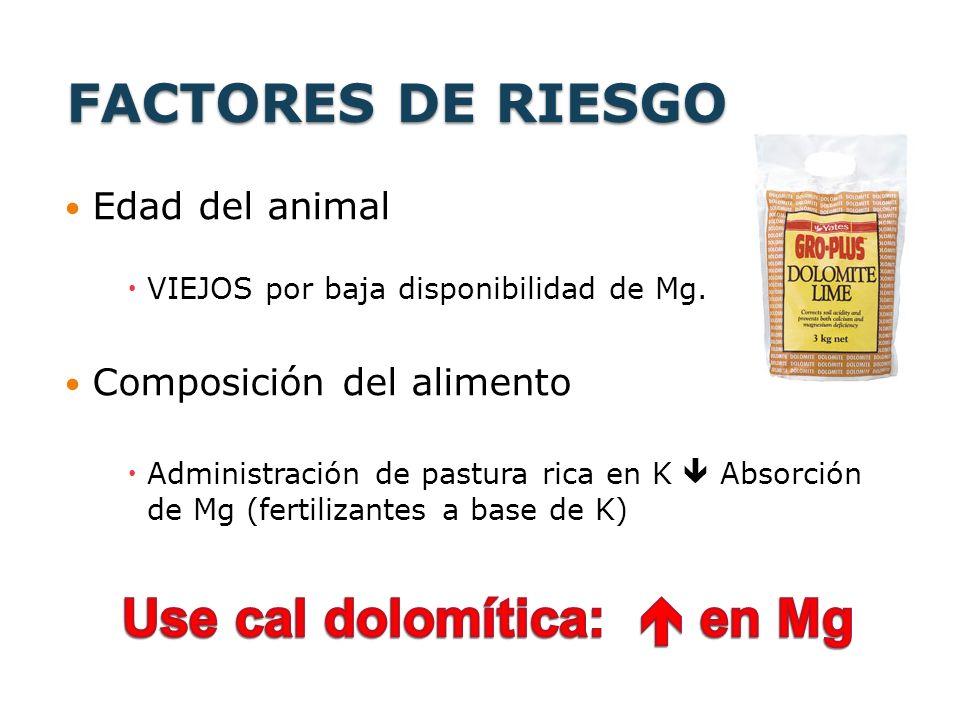 Use cal dolomítica:  en Mg