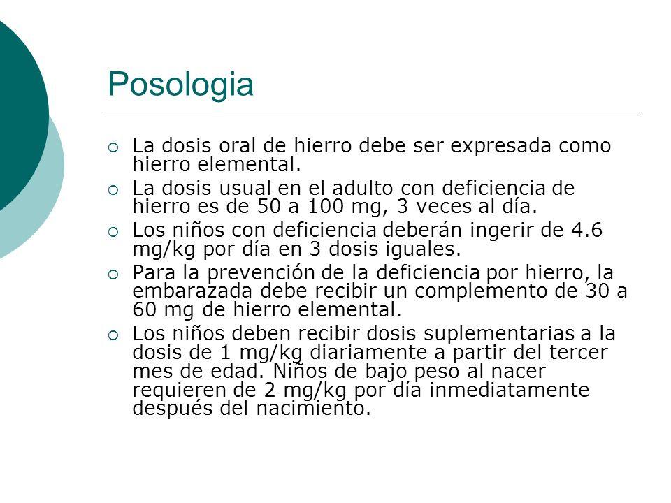 Posologia La dosis oral de hierro debe ser expresada como hierro elemental.