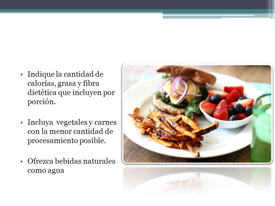 Indique la cantidad de calorías, grasa y fibra dietética que incluyen por porción.