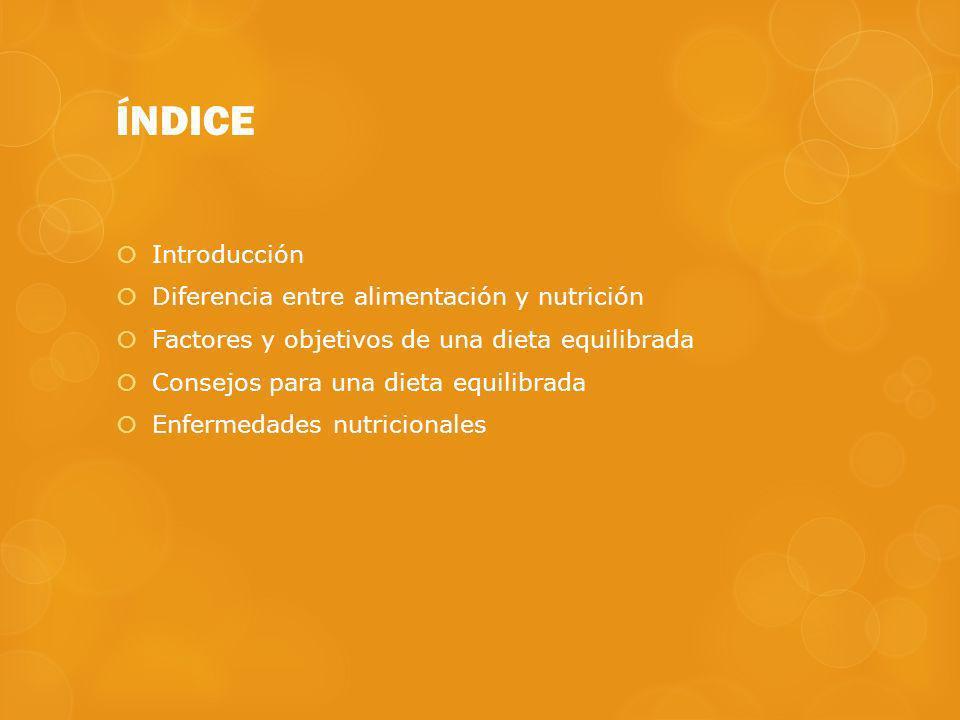 ÍNDICE Introducción Diferencia entre alimentación y nutrición